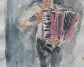 "Acquarelle: ""the accordionist"" #1"