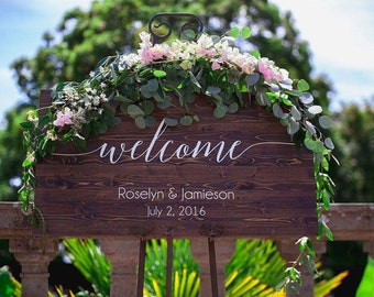 Wedding Welcome Sign - Rustic Wood and Hand Painted Wedding Sign