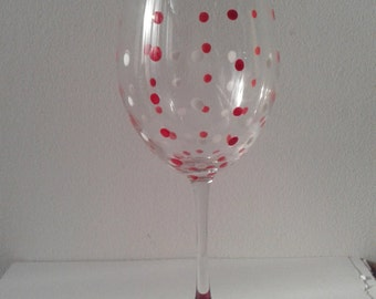 Polka Dot Hand Painted Red and White Large Wine Glass
