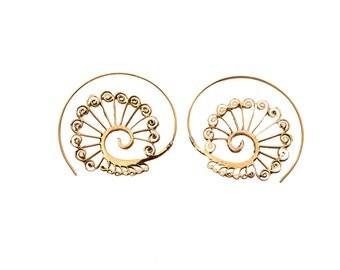Spiral Earrings- Brass Earrings- Wave Earrings- Tribal Earrings