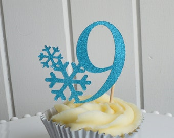 Snowflake glitter number cupcake toppers