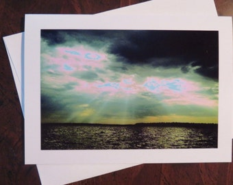 Green Horizon. Photo Greeting/Note Card. Blank Inside.