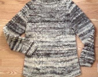 Vintage Handmade Hand Knit Wool Sweater, Medium