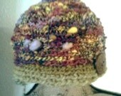 Earthy woodland handspun art yarn merino crochet beanie hat