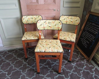 Three 1970's Kitchen Chairs