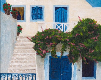 Original acrylic painting, Santorini, Greece, house, summer