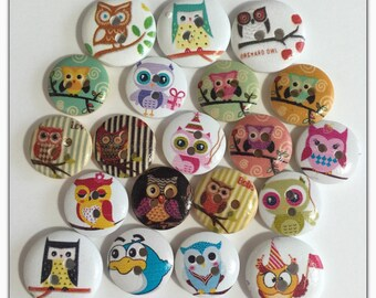 20 Owl buttons, assorted owl buttons, wood buttons, novelty buttons, scrapbooking, sewing, crafts round wood buttons