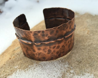 Hammered Copper Cuff - hand forged fold formed textured metal bracelet