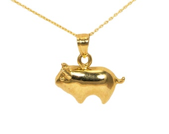 14k Yellow Gold Pig Necklace