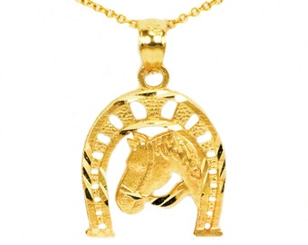 10k Yellow Gold Horse Necklace