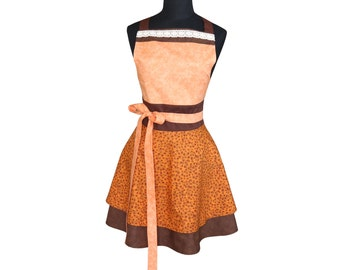 Autumn Leaves  Vintage Apron Cute Kitchen Apron Retro Women's Apron