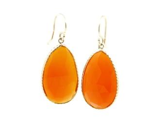 Freestyle Carnelian Slice Earrings Set in 14k Yellow Gold