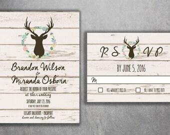 Country Wedding Invitations, Rustic Wedding Invitation, Wood, Deer Wedding Invitation, Buck, Deer Rack, Hunter, Boho, Flower Wreath, Print
