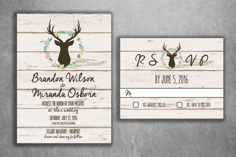Deer Wedding Invitation, Country Wedding Invitations, Rustic Wedding  Invitation, Wood, Buck, Deer Rack, Cheap, Boho, Affordable, Hunter
