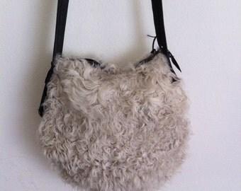 Handmade crossbody bag on a long strap, white real fur sheep, Free shipping
