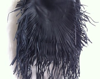 Real handmade crossbody bag from soft leather with elements of fashionable leather fringe old leather new women's black bag size - small.