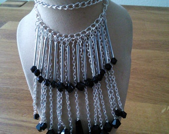 Black and silver fringe necklace