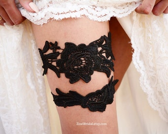 Lace Wedding Garter, Wedding Garter Set, Black Bridal Garter, Black Lace Garter, Wedding Garter Set, Handmade Garters, Black Bridal Gift