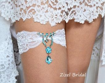 Lace Garter Set, Blue Garte, Bridal Garter Set, Something Blue Garer,Blue Rhinestone Garter, Blue Wedding Garter, Handmade Garter, Garters