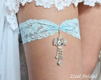 Lace Wedding Garter, Blue Wedding Garte, Bridal Garter Set, Elegant Garter, Aqua Garter, Something Blue Wedding Garter, Aqua lace Garter