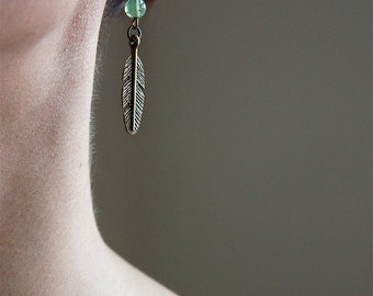 Bronze and green feather earrings