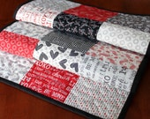 Valentine Table Runner, First Crush, Quilted Valentine Table Runner, Red Black Cream, Sweetwater, Handmade Table Runner, Heart Table Runner