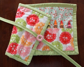 Floral Crayon Roll, Scrumptious, Crayon Holder, Crayon Tote, Girl Crayon Roll Up, Pink, Red, Lime Green, Orange, Roll Up, Art Supplies, Moda