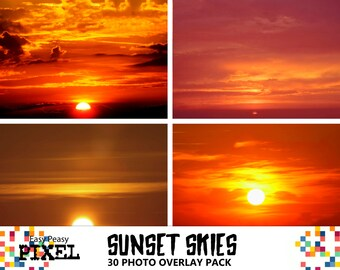 SUNSET OVERLAYS, PHOTOSHOP Overlays, Photoshop Overlay, Skies Overlays, Sky Overlays, Photoshop Skies, Cloud Overlays, Sunset Skies