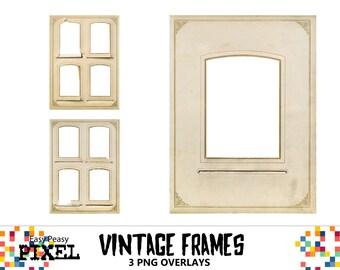 VINTAGE FRAMES Overlays, Photo Frames, Photoshop Overlays, Photoshop Frames, Digital Frames, Instant Download, PNG Frames