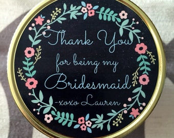 Thank You For Being My Bridesmaid Candle, 4oz, 8oz, 16oz, Mason Jar, Soy, Customized, handmade