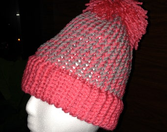 Peachy Pink and Grey Beanie