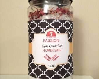 Rose Flower Bath 16 oz, Rose Geranium, Essential Oil, Aromatherapy, Natural, Vegan