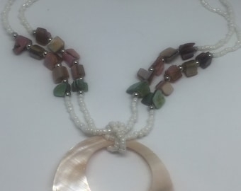 Mother of pearl effect and coral beaded neclace