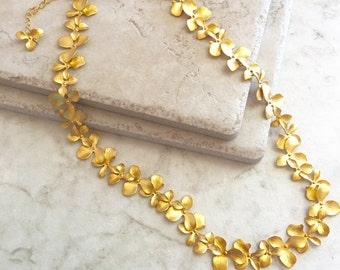 Bright Gold Cascading Orchid Necklace Bridal Necklace Statement Jewelry Wedding Jewelry Special Occasion Dressy Necklace