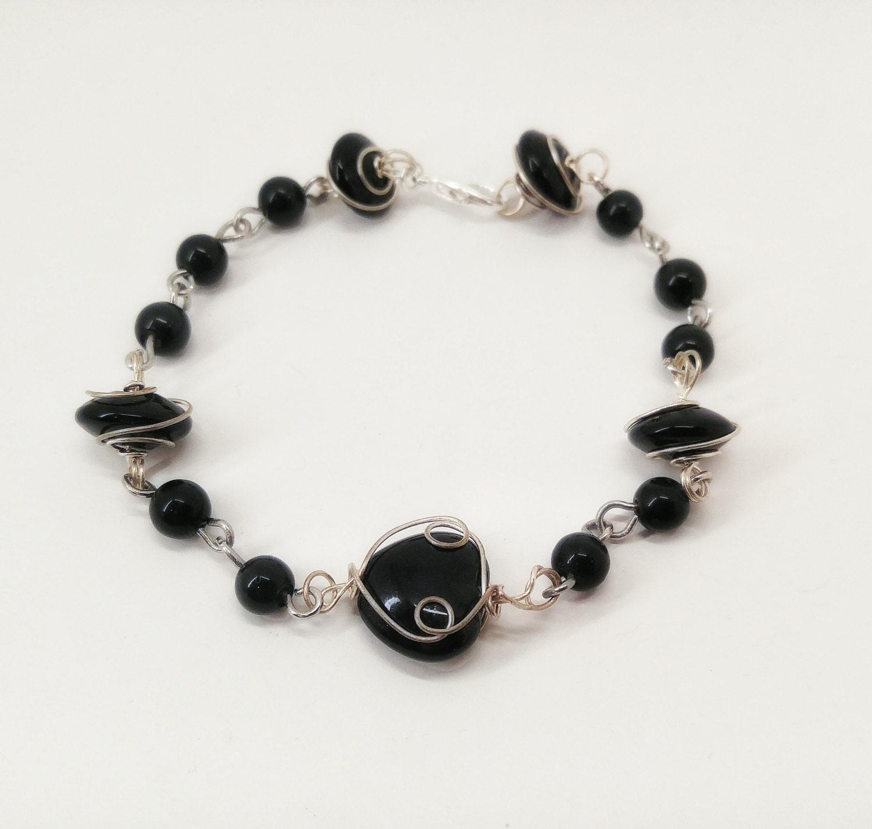 black obsidian wire wrap bracelet healing jewelry
