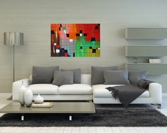 Abstract acrylic painting 90x60cm original paintings unique contemporary art colorful network box painting