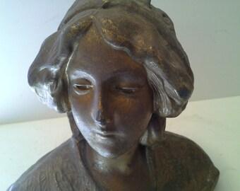 Bronze tone brass art nouveau statue