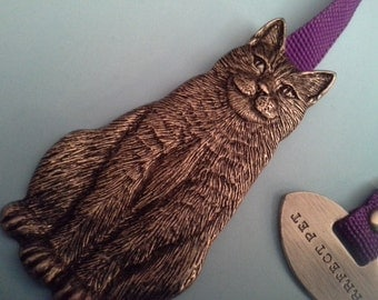Cat and fish ribboned bookmark