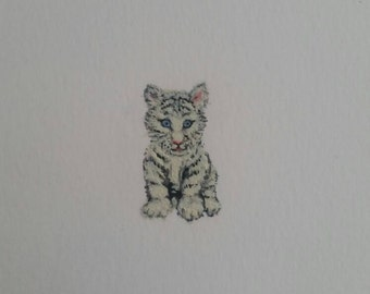 Snow White Bengal Tiger Miniature painting, White Siberian Tiger Cub, Endangered species, Small Original Watercolour Painting ,NOT A PRINT