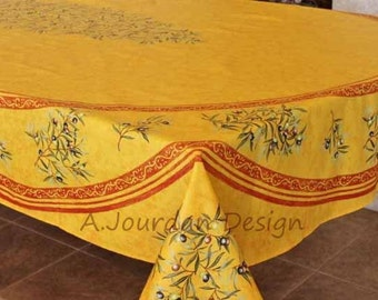 French Provence PETITE OLIVE RUST Rectangle Tablecloth Acrylic Coated - Indoor Outdoor French Oilcloth Fabric - Matching napkins available