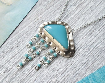 long turquoise necklace, bohemian necklace, long silver necklace, metalwork