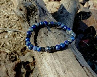 Unisex 6mm Lapis Lazuli Bead Bracelet with Hematite Spacers Reiki Healing Chakra Balancing Gemstones Men's Women's Semi Precious Stones
