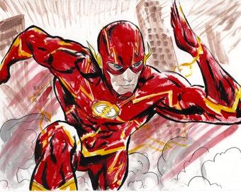 the flash dc superhero art print
