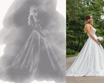 Bridal gown custom artistic dress sketch wedding gift monento
