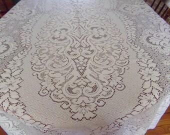 Vintage Large White Lace Tablecloth 108x60