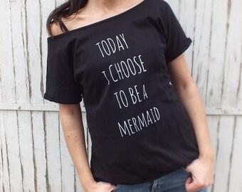 Mermaid tee- Black women tee- Off the shoulder top- Off shoulder top-Quotes Tee - Off the shoulder tee