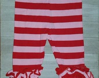 Size 12M - Red/pink stripe ruffle leggings