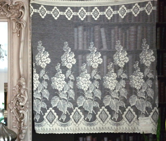 Vintage Art Deco Design C1930s Ecru Cotton Lace Curtain Panel