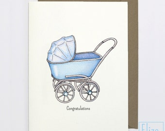 Blue Pram - Congratulations // Illustrated Greeting Card