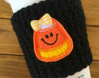 Halloween Candy Corn Coffee Cozy!  Starbucks Travel Cup Coffee Sleeve!  Fall Mug for Coffee or Tea Cosy Autumn